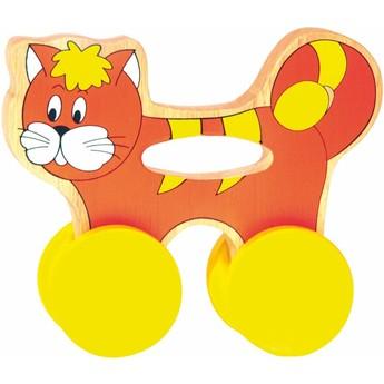 Pro nejmenší - Kočička na kolečkách s držadlem