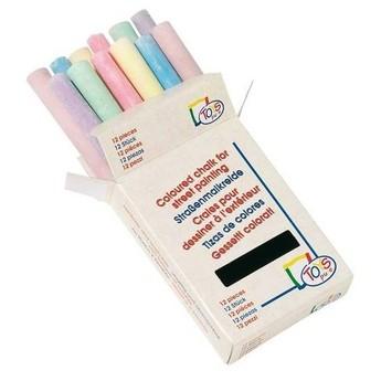 Školní potřeby - Školní barevné kulaté křídy, 12 ks