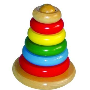 Motorické a didaktické hračky - Dřevěná pyramida - kroužky