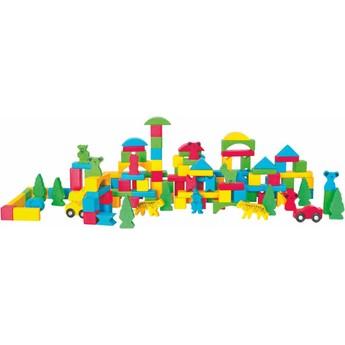 Kostky a stavebnice - Stavebnice barevná v kyblíku Fantasy, 130 dílů