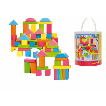 Kostky a stavebnice - Stavebnice kostky barevné - pastelové, 75 dílů