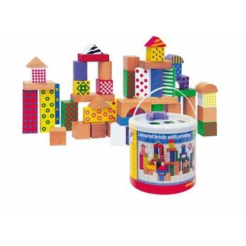 Kostky a stavebnice - Stavebnice kostky barevné, s potiskem, 50 dílů