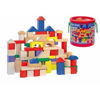 Kostky a stavebnice - Stavebnice kostky barevné/natur s prostrkávacím víkem, 100 dílů