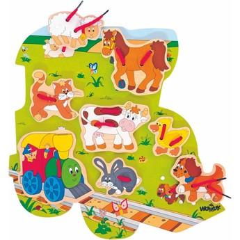Motorické a didaktické hračky - Tvarové prošívací puzzle Mašinka