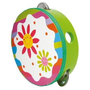 Dětské hudební nástroje - Tamburína Kytičky
