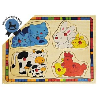 Dřevěné puzzle Domácí zvířáta s mláďaty