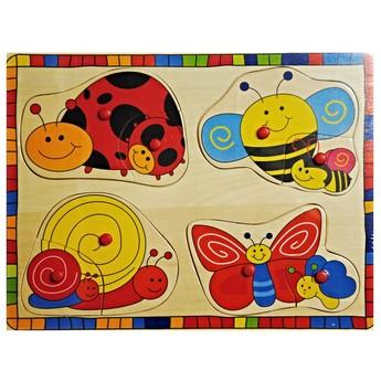 Puzzle - Dřevěné puzzle Hmyz s mláďaty
