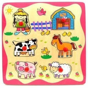 Puzzle - Dřevěné puzle s úchyty Farma