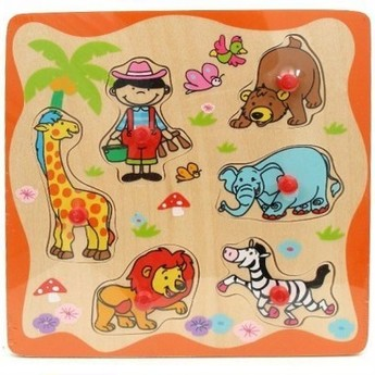 Puzzle - Dřevěné puzle s úchyty Zoo