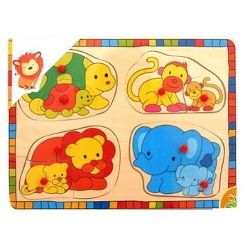 Puzzle - Dřevěné puzzle Divoká zvířata s mláďaty