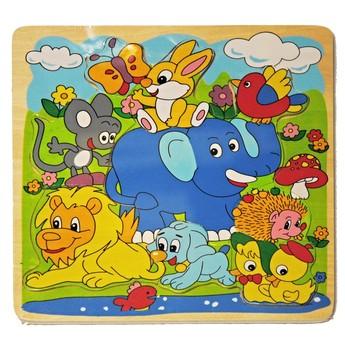 Puzzle - Dřevěné puzzle Slon a přátelé