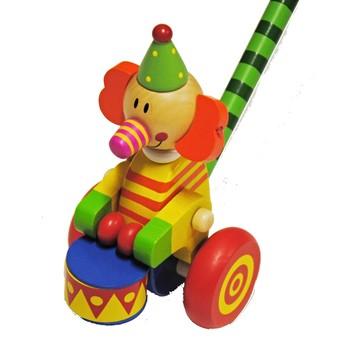 Pro nejmenší - Tlačící hračka Klaun s bubnem