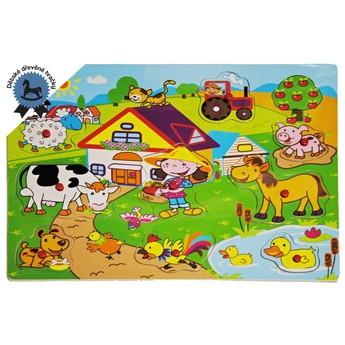 Puzzle - Dřevěné puzzle Život na farmě