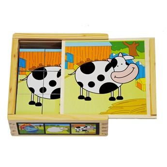 Kostky a stavebnice - Dřevěné kostky Domácí zvířátka