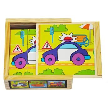 Kostky a stavebnice - Dřevěné kostky Dopravní prostředky