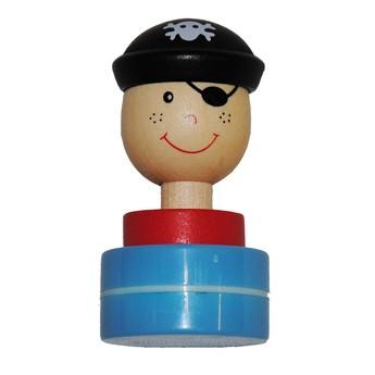 Výtvarné a kreativní hračky - Dřevěné razítko Pirát - modrá tuš