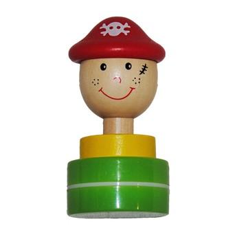Výtvarné a kreativní hračky - Dřevěné razítko Pirát - zelená tuš