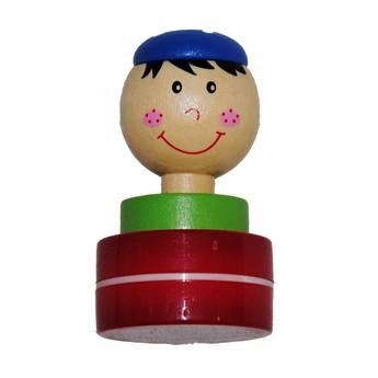 Výtvarné a kreativní hračky - Dřevěné razítko Pirát - červená tuš