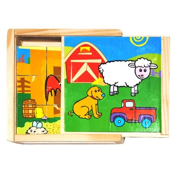 Kostky a stavebnice - Dřevěné kostky Zvířátka na farmě