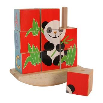 Kostky a stavebnice - Dřevěné kostky na tyči Panda