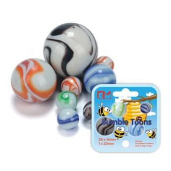 Hračky na ven - Skleněnky Bumble Toons (20 x 16mm + 1 x 25mm)