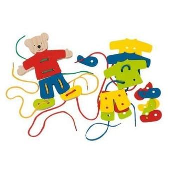 Motorické a didaktické hračky - Provlékací hračka – Medvídek