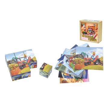 Kostky a stavebnice - Dřevěné kostky Looney Tunes 9 ks