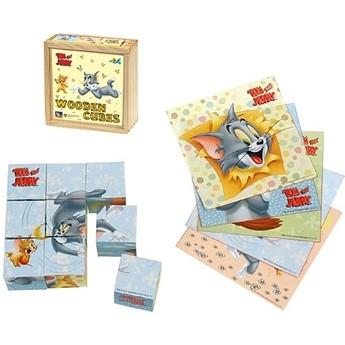 Kostky a stavebnice - Dřevěné kostky Tom a Jerry 9 ks