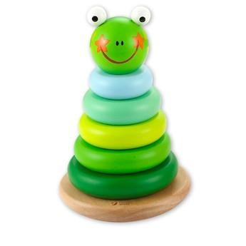 Motorické a didaktické hračky - Dřevěná pyramida Žába, magnetická