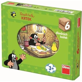 Kostky a stavebnice - Dřevěné kostky Krtek a přátelé 6 kostek