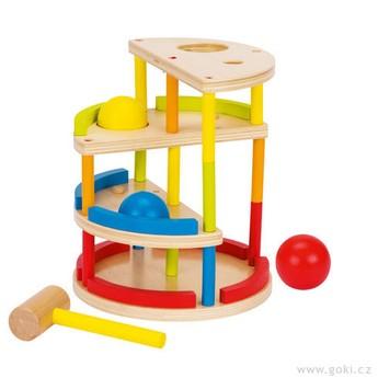 Motorické a didaktické hračky - Patrová zatloukačka a kuličková dráha