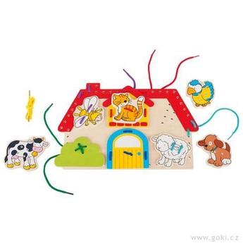 Motorické a didaktické hračky - Provlékací motorická hračka – Farma, 10 dílů