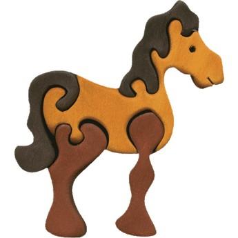 Puzzle - Vkládací mini puzzle - Kůň hnědý