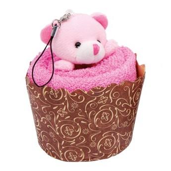 Pro holky - Mini ručník - Medvídek v muffinu růžový