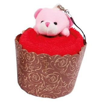 Pro holky - Mini ručník - Medvídek v muffinu červený