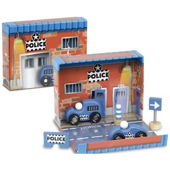 Pro kluky - Dřevěné autíčka v boxu - Policie