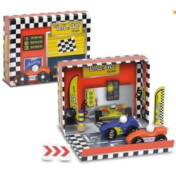 Pro kluky - Dřevěné autíčka v boxu - Závodní dráha