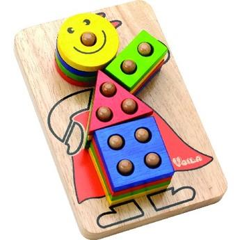 Motorické a didaktické hračky - Skládací klaun na tyčkách