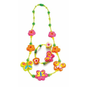 Pro holky - Náhrdelník a náramek - Motýlci a květiny žlutý