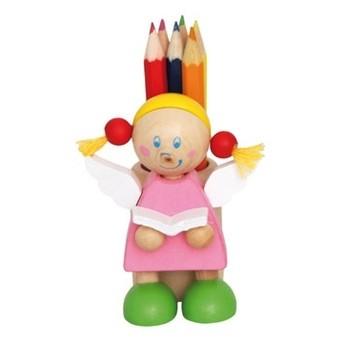 Výtvarné a kreativní hračky - Stojánek na tužky s pastelkami, Anděl růžový