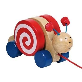 Pro nejmenší - Dřevěná tahací hračka – Šneček s otočným domečkem