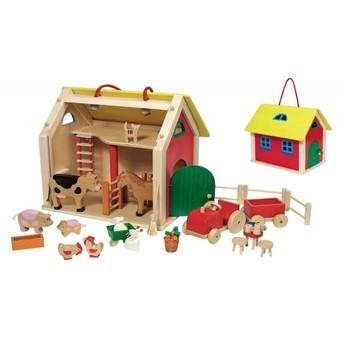 Dřevěné farmy a příslušenství - Domeček pro panenky – farma s příslušenstvím, 31 dílů