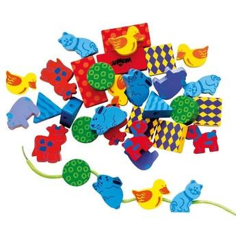 Motorické a didaktické hračky - Navlékací korálky Zvířata
