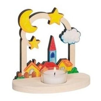 Výtvarné a kreativní hračky - Svícen na čajovou svíčku Noční vesnička