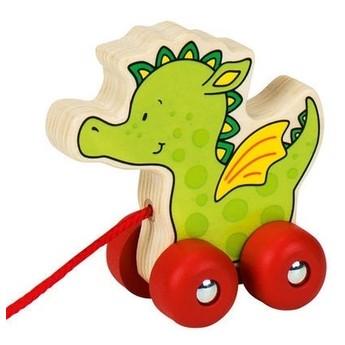 Pro nejmenší - Tahací hračka dřevěná – veselý dráček