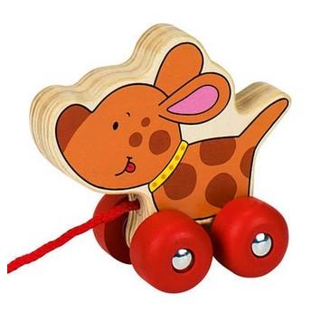 Pro nejmenší - Tahací hračka dřevěná – strakatý pejsek