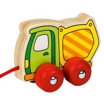 Pro nejmenší - Dřevěná tahací hračka – nákladní autíčko vyklápěč