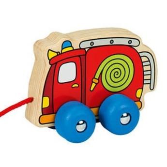 Dřevěná tahací hračka – požárnické auto