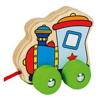 Pro nejmenší - Dřevěná tahací hračka – lokomotiva