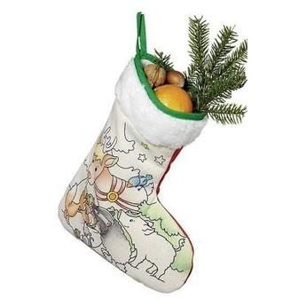 Výtvarné a kreativní hračky - Vánoční holínka, punčocha k vymalování - Sob
